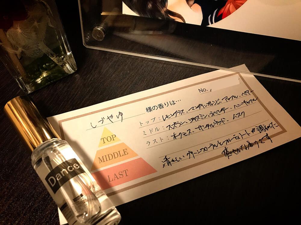 ネットオーダーしたイメージ香水。トップ・ミドル・ラストの各種香りが書いてある。