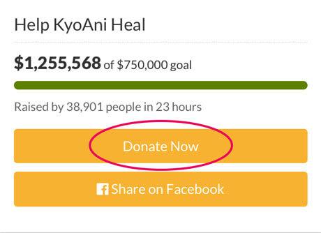 アメリカの京アニクラウドファンディングでの募金方法